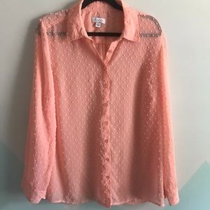 D&co knobbed dotted sheer pink blush button up
